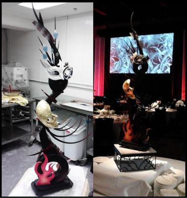 The 100% edible four-foot masquerade-themed sculpture made of chocolate and sugar.