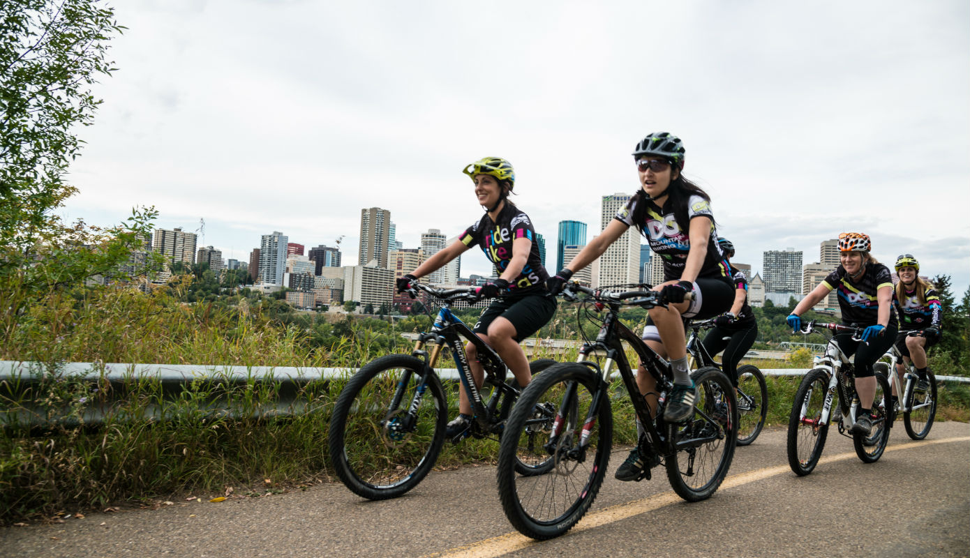 Biking in Edmonton River Valley